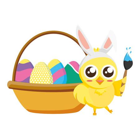 happy chick easter basket eggs and brush vector illustration Standard-Bild - 124624666