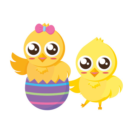 happy chicks easter and egg shell vector illustration Ilustração