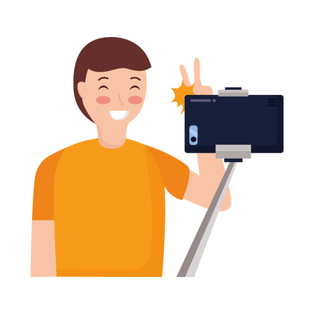 man with mobile sitck taking selfie vector illustration