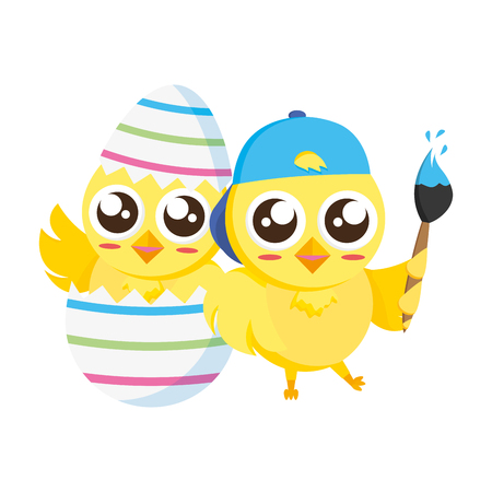 happy chicks easter with brush and egg shell vector illustration Stock Vector - 118547974