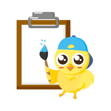 cute chick with brush and clipboard vector illustration