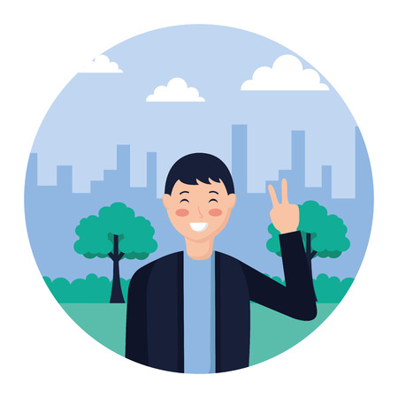 man posing peace and love in the park vector illustration Ilustrace
