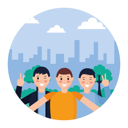 three men posing portrait in the park vector illustration Vettoriali