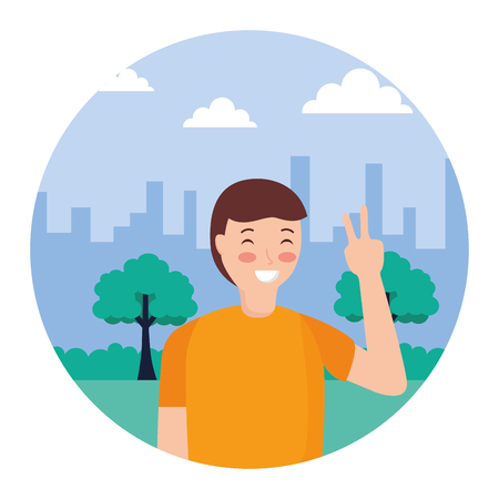 man posing peace and love in the park vector illustration Illustration