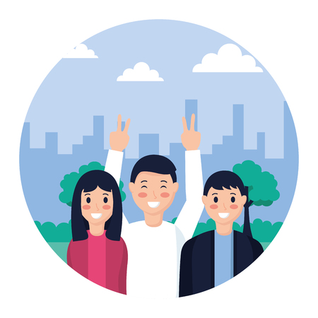 people posing portrait in the park vector illustration Illustration