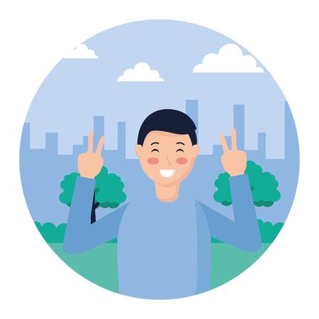 Hombre posando paz y amor en la ilustración de vector de parque