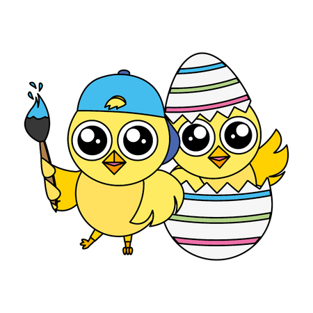 happy chicks easter with brush and egg shell vector illustration
