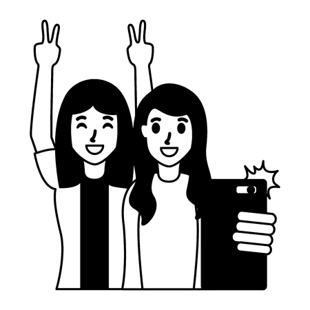 two friends women taking selfie vector illustration Illustration