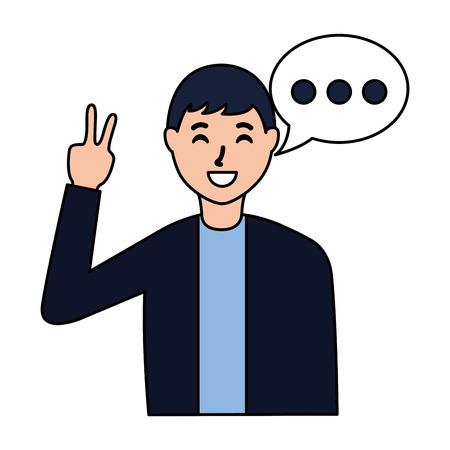man peace love gesture speech bubble vector illustration Stock Illustratie