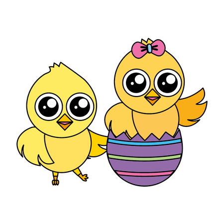 happy chicks easter and egg shell vector illustration  イラスト・ベクター素材