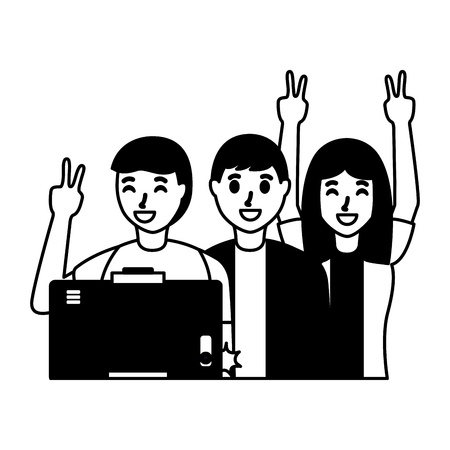 smiling people taking selfie with cellphone vector illustration