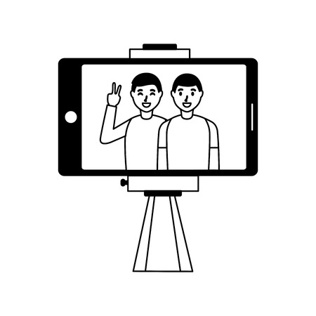 cellphone with two men taking selfie vector illustration Stock Vector - 118547989