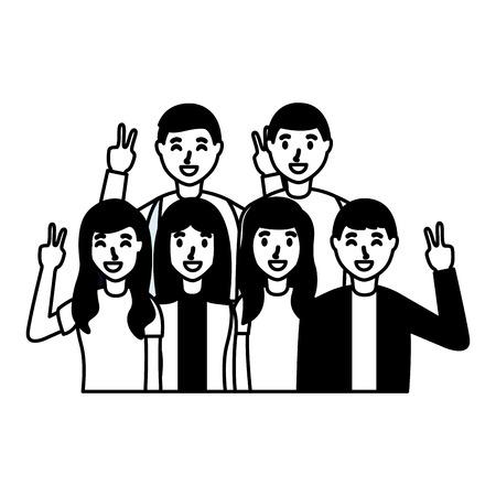 people taking selfie posing gesture vector illustration Illustration