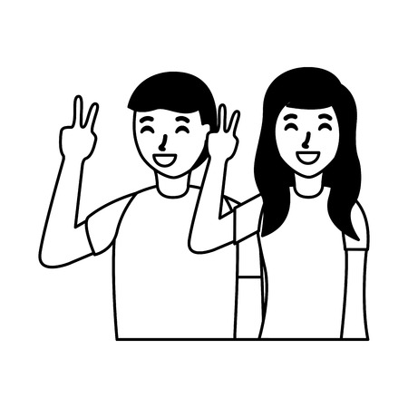 smiling couple posing taking selfie vector illustration