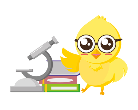cute chick science microscope and books vector illustration