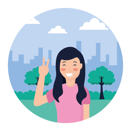 woman posing peace and love in the park vector illustration