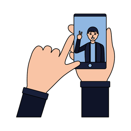 hand with mobile man taking selfie vector illustration Stock Vector - 118548013