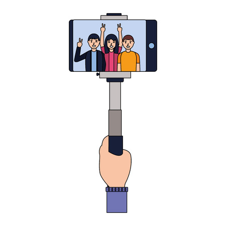 smiling people taking selfie with cellphone vector illustration Stock Vector - 118548015