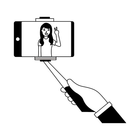 woman holding mobile stick taking selfie vector illustration Illustration