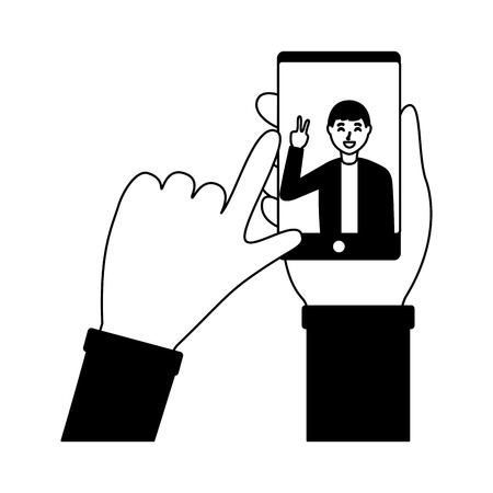 hand with mobile man taking selfie vector illustration Stock Vector - 118548024