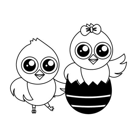happy chicks easter and egg shell vector illustration Illustration