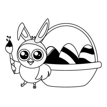 happy chick easter basket eggs and brush vector illustration Standard-Bild - 118548027
