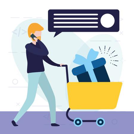 man using cellphone online shopping cart gift vector illustration