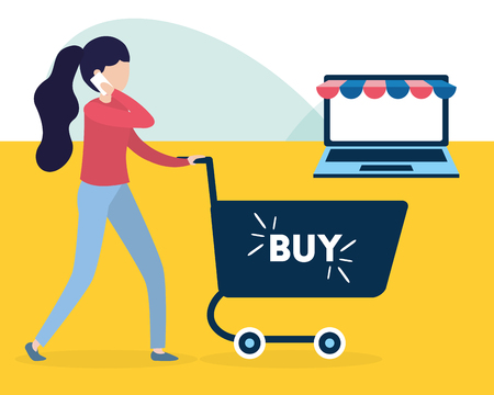 woman using cellphone online shopping cart buy application vector illustration Banque d'images - 124624741