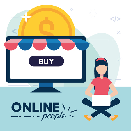 woman using laptop online money buy application vector illustration
