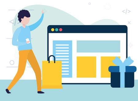 L'homme à l'aide de téléphone portable sac cadeau en ligne vector illustration Vecteurs