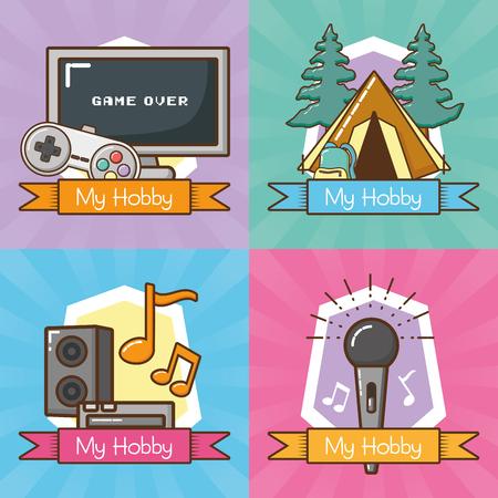 my hobbies collection differents activities vector illustration design Vetores