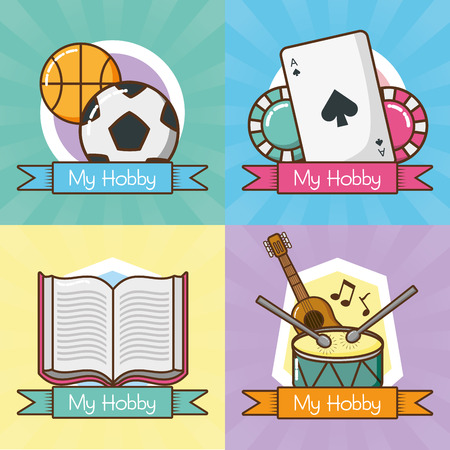 mijn hobby's collectie differents activiteiten vector illustratie ontwerp