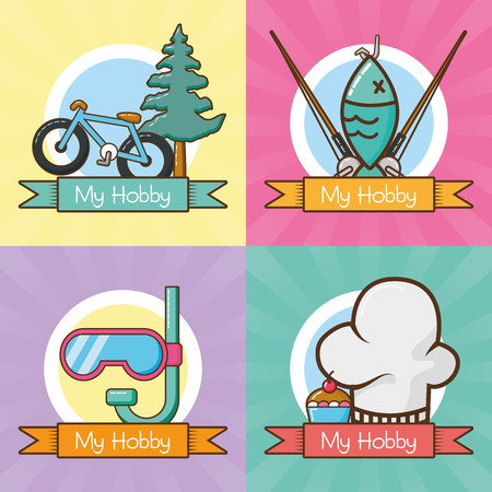 my hobbies collection differents activities vector illustration design  イラスト・ベクター素材