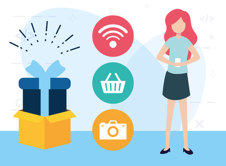 woman using cellphone online shopping delivery vector illustration