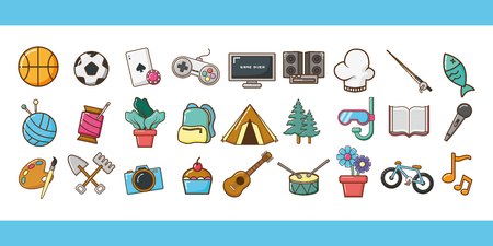 my hobbies banners many activities vector illustration design
