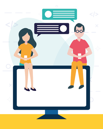 woman and man using cellphone computer online chat vector illustration