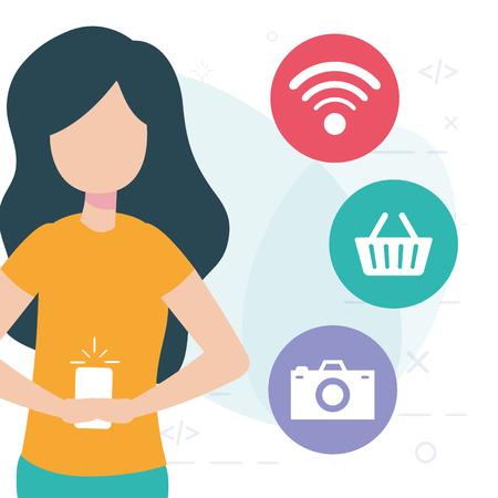 woman using cellphone online shop internet vector illustration Illustration