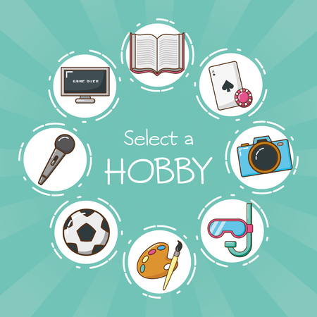 select a hobby choosing vector illustration design Illustration