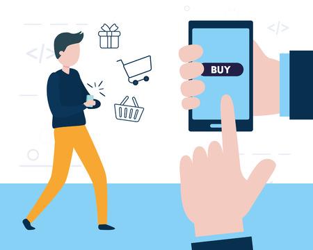 man pushing button app buy smartphone online vector illustration