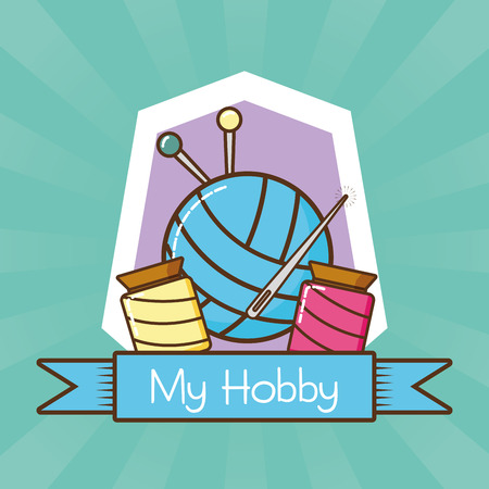 my hobby knitting and needlework vector illustration design