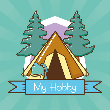 my hobby camping wanderlust relaxing vector illustration design