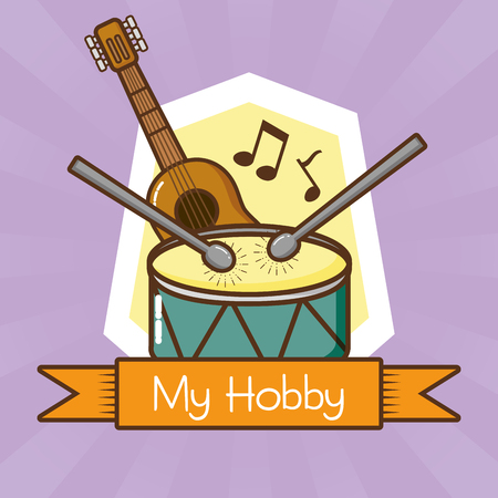 my hobby playing musical instruments vector illustration design