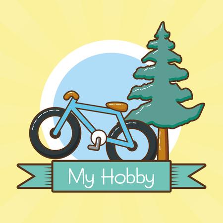 my hobby riding outdoor bicycle vector illustration design Ilustração