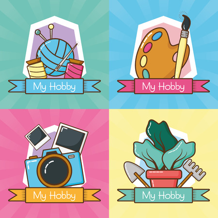 my hobbies collection differents activities vector illustration design Ilustrace