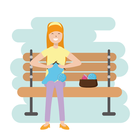 woman knitting with wool - my hobby vector illustration Ilustrace