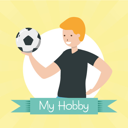 men with ball soccer - my hobby vector illustration