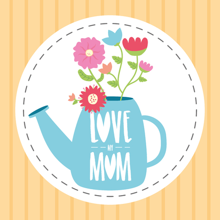 watering can flowers happy mothers day vector illustration Illustration