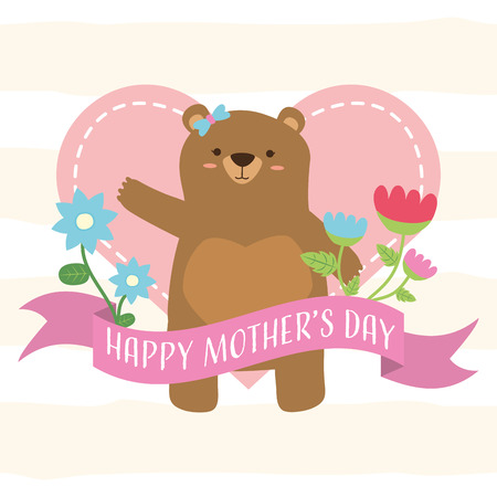 cute bear flowers heart happy mothers day vector illustration
