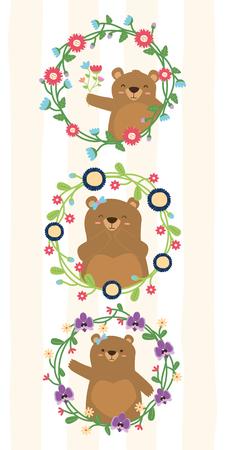 cute bears wreath flowers decoration vector illustration