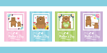 cute bears flowers greeting card mothers day set vector illustration Illustration